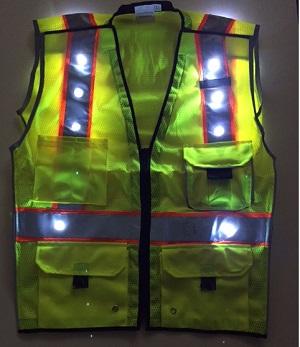 Led Warning Lights >> LED Safety Vests - Yellow Blinking LED Safety Vest-trafficsafetywarehouse.com