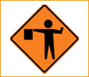 Flagger Ahead Safety Sign